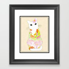 Peachy Garden Kitty with Big Green Eyes Framed- Textured Rosey Blush Background Framed Art Print