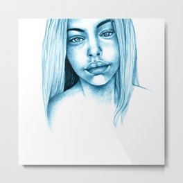Blue Girl Metal Print