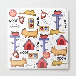 Best Friends Woof & Meow Metal Print