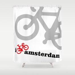 I Love Amsterdam - Red Bike Shower Curtain