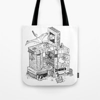 conan Tote Bags featuring Worlds within Worlds by KadetKat