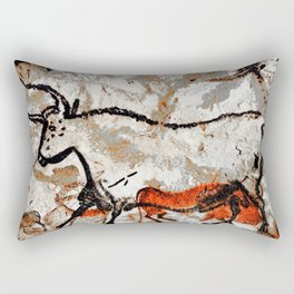 Prehistoric Bull Lascaux Cave Painting Rectangular Pillow