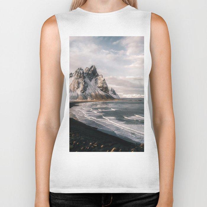 Stokksnes Icelandic Mountain Beach Sunset - Landscape Photography Biker Tank
