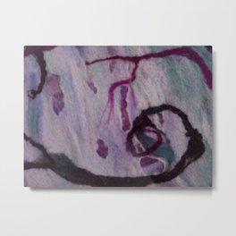 Purple marble wool Metal Print