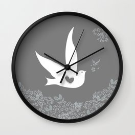 Wings of Love - Silver & Grey Wall Clock