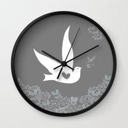 Wings of Love - Silver & Grey Wall Clock