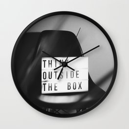 Think Outside the Box (Black and White) Wall Clock