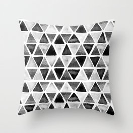 Black and White Ink painted Triangles Throw Pillow