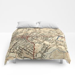 Vintage Map of Charlottesville Virginia (1949) Comforters