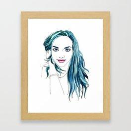 Rainbow Haired Girl: Teal Framed Art Print