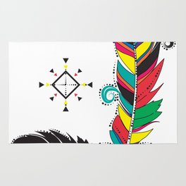 Boho Festive Feathers Rug