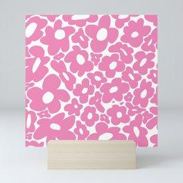60s 70s Hippy Flowers Pink Mini Art Print