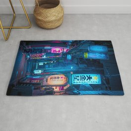 Big Japanese Lantern in the Street of Tokyo Aesthetic Cyberpunk Style Photography Rug