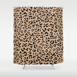 Animal Print, Spotted Leopard - Brown Black Shower Curtain