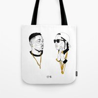 kendrick lamar Tote Bags featuring Kendrick Lamar by Timothy McAuliffe