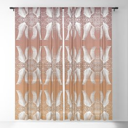 Homey pattern of feet in knitted socks Sheer Curtain