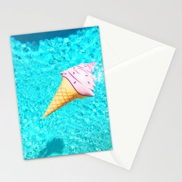 pink ice cream cone float all up in my pool yo Stationery Cards