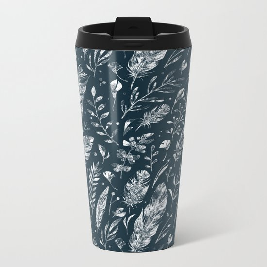 Feathers And Leaves Abstract Pattern Black And White Metal Travel Mug