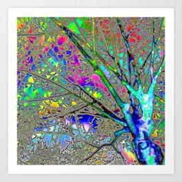 Digital Tree Neon Art Print