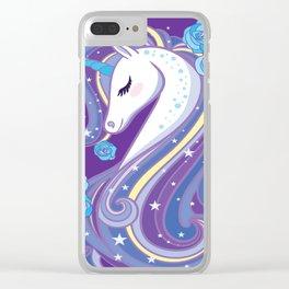 Magical Unicorn in Purple Sky Clear iPhone Case