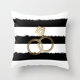 Gold Wedding Rings Throw Pillow
