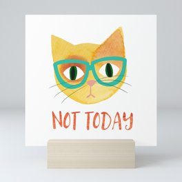Not Today - Hipster Cat in Glasses - Illustration Mini Art Print