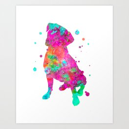 Boxer Dog Watercolor Painting 2 Art Print