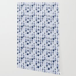 Swedish folk cats III // white background pale and navy blue kitties & bowls Wallpaper