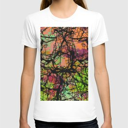 Cracks And Colour - Pastel orange, blue and green abstract with black marble effect T-shirt