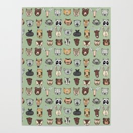 Wild Animal Portraits Green Texture Poster
