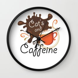 Cat's And Caffeine Coffee Pet Lover Wall Clock