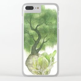 Willow Tree and Spodumene Crystals Clear iPhone Case