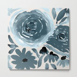 Loose Abstract Flowers on Tan Metal Print