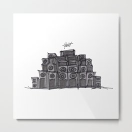 """Rude"" Hand Drawn Sound System Black Metal Print"
