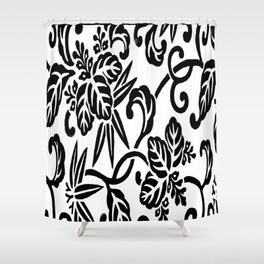 Japanese Floral White & Black Shower Curtain