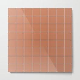 Minimal Grids Never Fail - Terracotta Metal Print