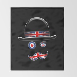 British Flag Face. Throw Blanket