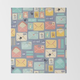 Retro styled pattern with letters and postcards Throw Blanket