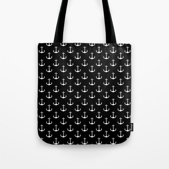 Black and white anchor pattern Tote Bag