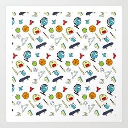 Colorful school pattern Art Print