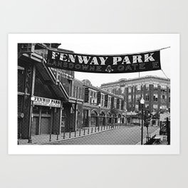 Fenway Park Banner Black and White Art Print
