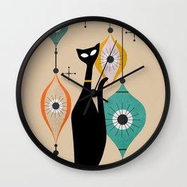 Atomic Christmas Cat Wall Clock