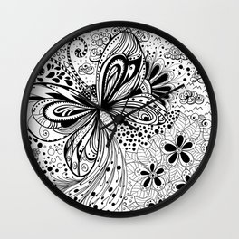 Butterfly and flowers, doodles Wall Clock
