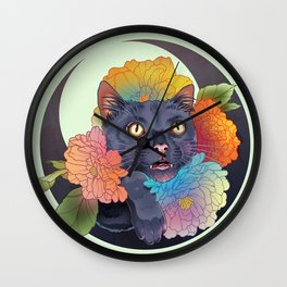 Neon Cat Action Wall Clock