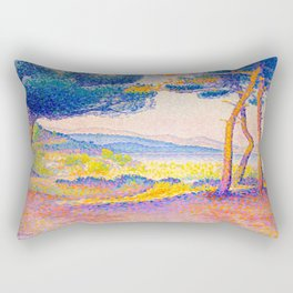 Henri-Edmond Cross Neo-Impressionism Pointillism Pines Along the Shore Oil Painting Rectangular Pillow