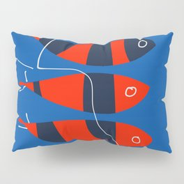 Red Fishes with Blue Stripes Minimal Art Illustration Pillow Sham