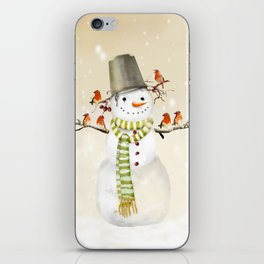 Snowman and Birds iPhone Skin