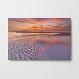 III - Beautiful sunset and reflections on the beach at low tide Metal Print