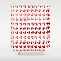 unicorns Shower Curtains featuring Peppermint Unicorns by That's So Unicorny