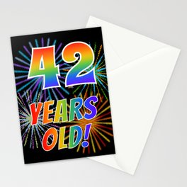 """42nd Birthday Themed """"42 YEARS OLD!"""" w/ Rainbow Spectrum Colors + Vibrant Fireworks Inspired Pattern Stationery Cards"""